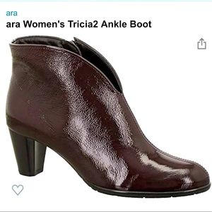 Ara Burgundy Patent Leather Tricia Boot Size 7.5
